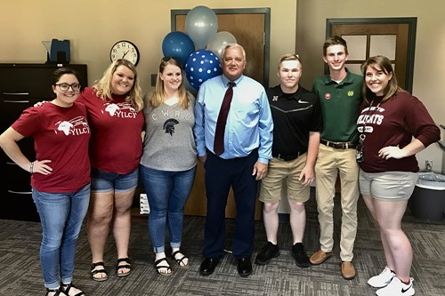 Superintendent Doug Ute stands with students from the Youth Leadership Council of Licking County after being presented with the Ruth Satterfield Award.