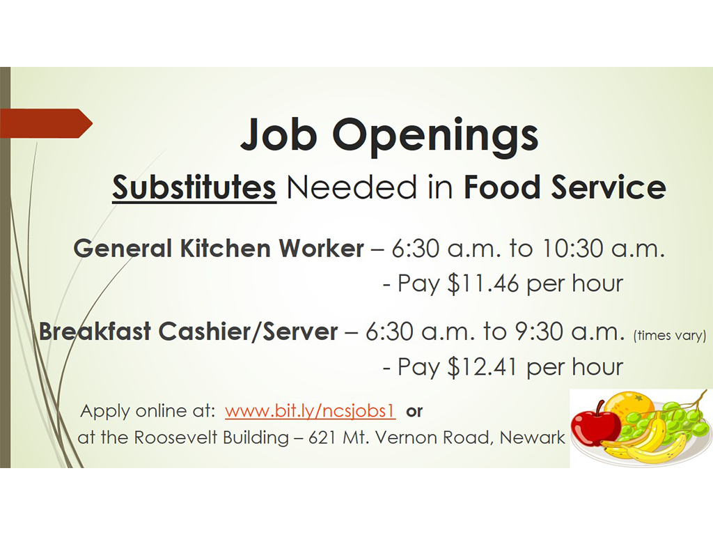 Food Service Substitutes needed