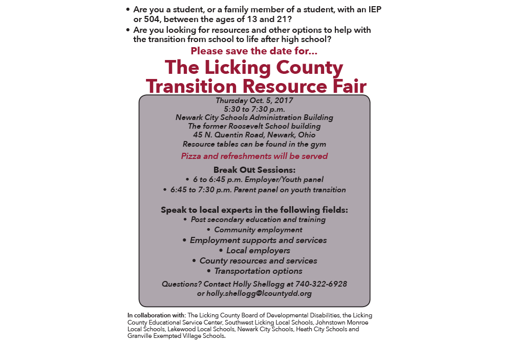 Licking County Transition Resource Fair set for Oct. 5