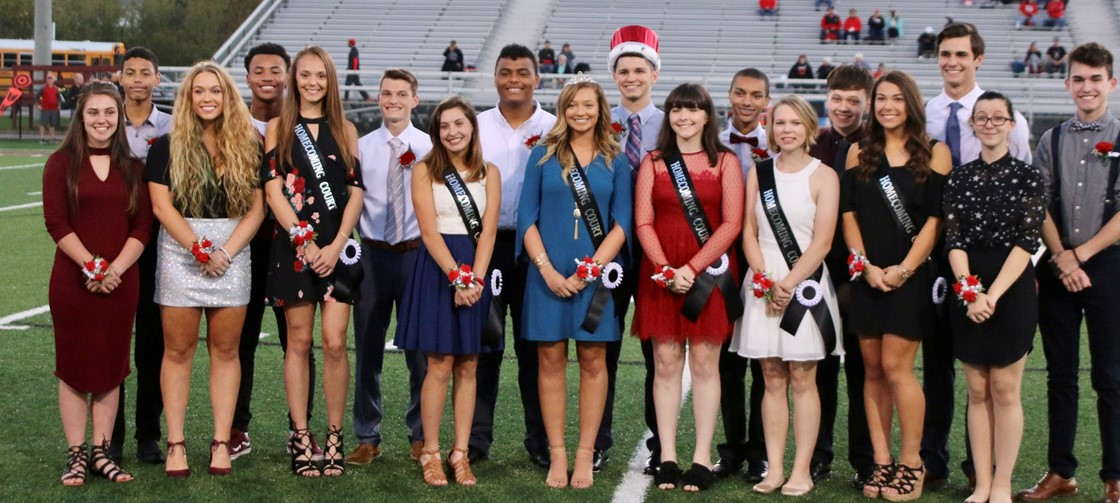 NHS Homecoming Court, including Queen Mckenna Young and King Austin Shaffer