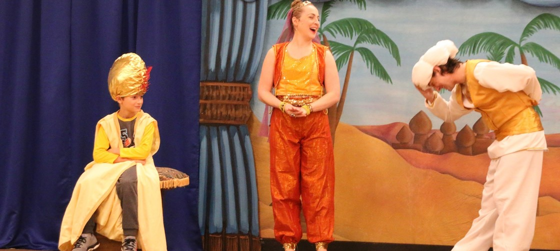 A McGuffey Student gets to play the Sultan during the Columbus Children's Theatre's visit to the school, performing Aladdin