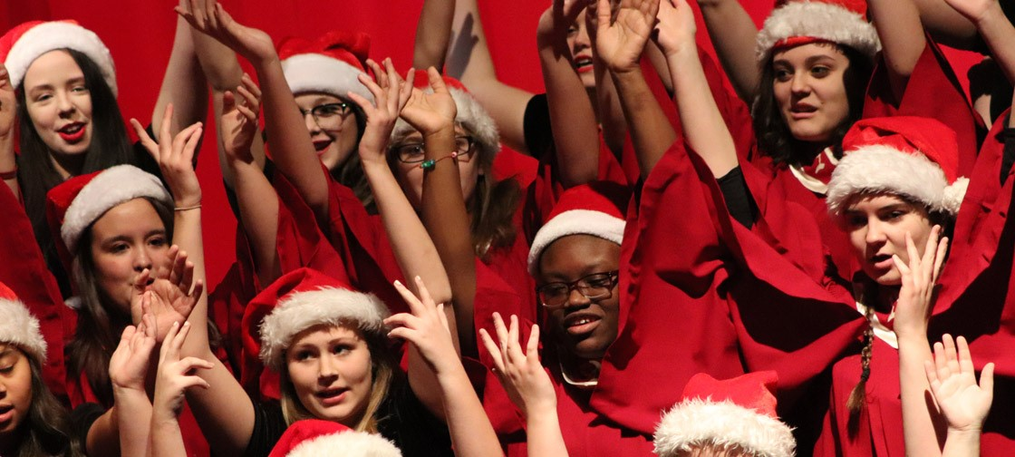 The combined women's choruses perform at the Winterfest concert