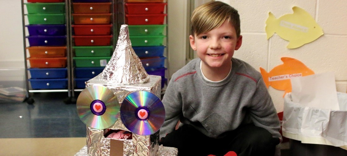 A John Clem student shares his Valentine's Day box
