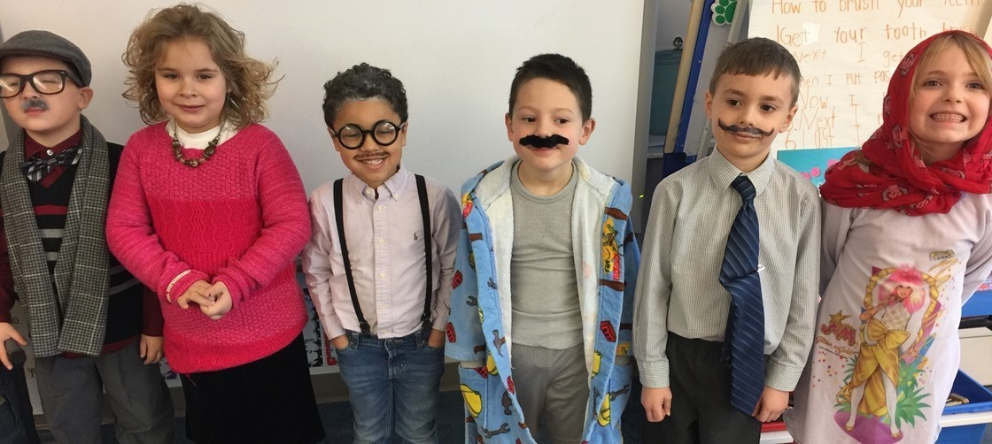 Kindergarteners at Clem, dressed as 100 year olds for the 100th day of school