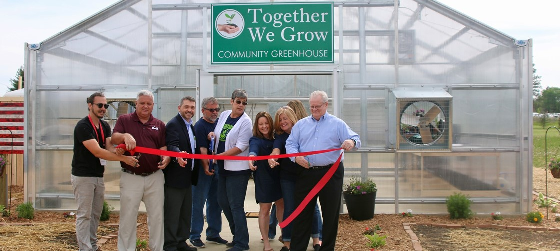 Ribbon Cutting for the Together We Grow Community Garden located at Heritage Middle School