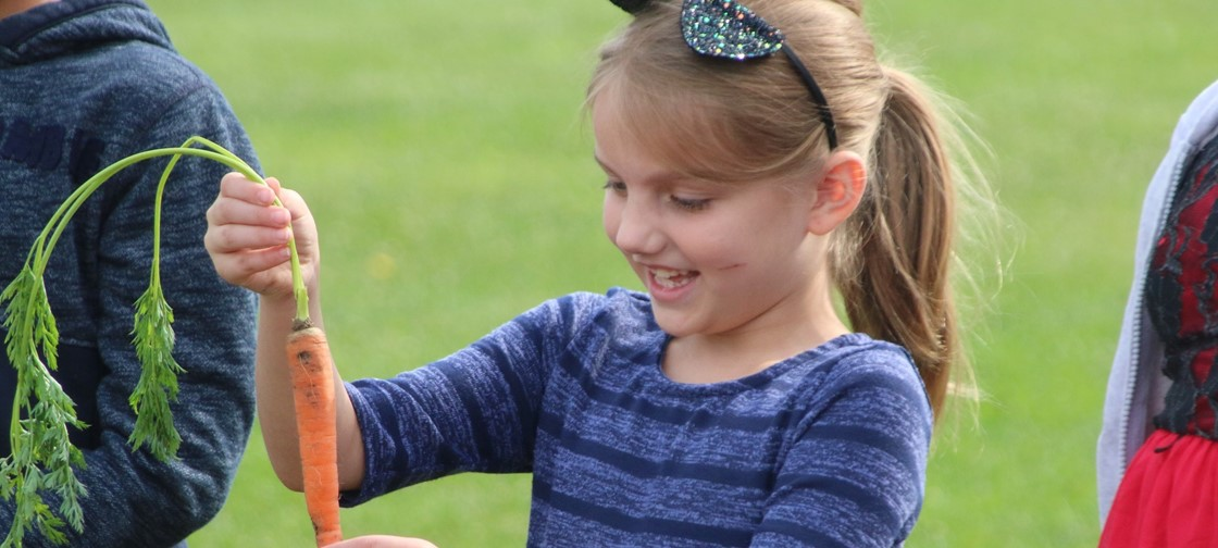 Legend Elementary student looks at a carrot from the school's garden, which students helped plant in the spring