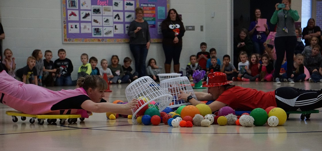 Carson Elementary held a Human Hungry Hippos event, after collecting 800 pounds of food and more than $200 for the Licking County Food Pantry