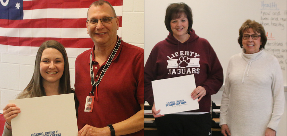 NHS teacher Lauren Clark and Liberty Middle School teacher Melinda Talbott received Tibbie Leslie Travel Grants. They are pictured with their principals, Tom Bowman and Diane Henry.