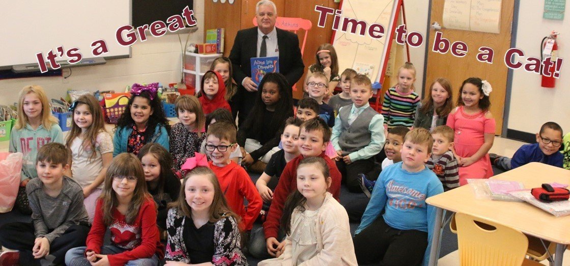 Superintendent Doug Ute, pictured with Carson Elementary 2nd Graders. It's a Great time to be a Cat!