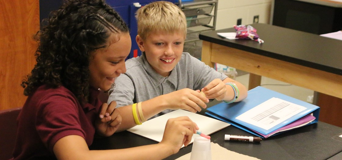 Wilson 6th graders enjoying a science project on the 1st day of school