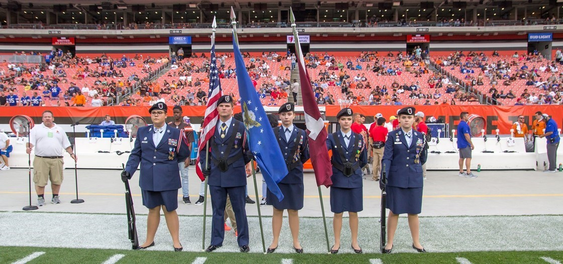 The NHS Jr. ROTC presented the colors during a Browns preseason game against the Bills