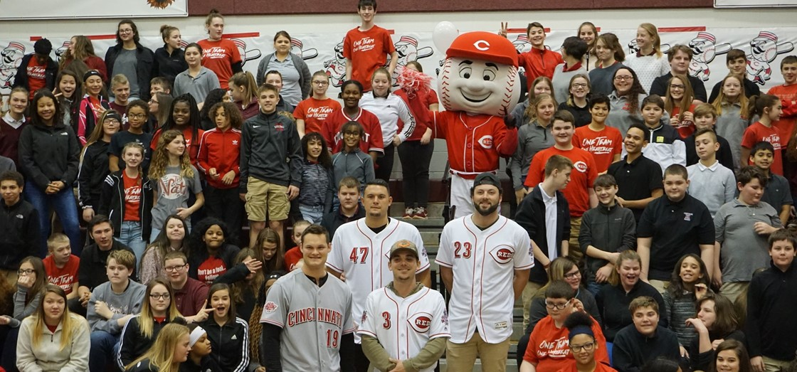 The Cincinnati Reds visited Heritage Middle School recently