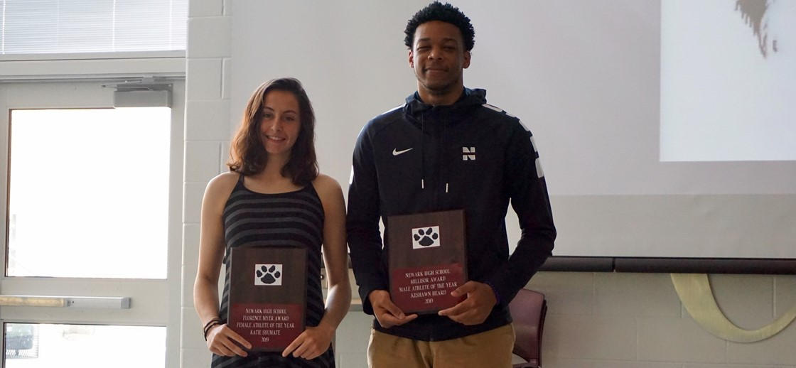Outstanding Senior Athlete Award recipients, Katie Shumate and Keshawn Heard