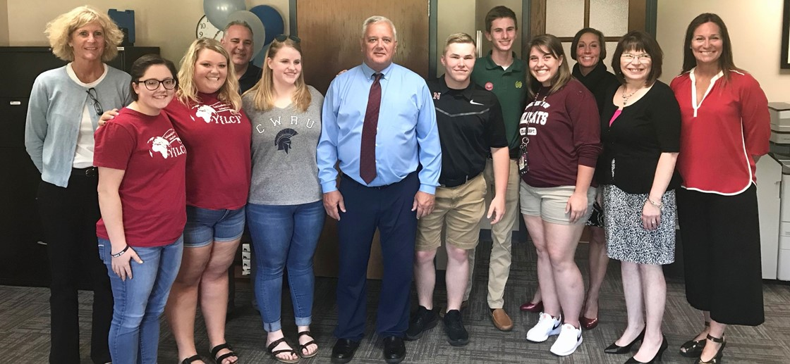 Superintendent Doug Ute to receive award for Prevention Excellence from Youth Leadership; pictured with members of Youth Leadership Licking County and district administrators