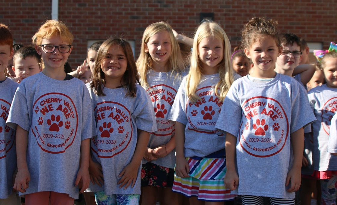 Cherry Valley students show off their new school shirts