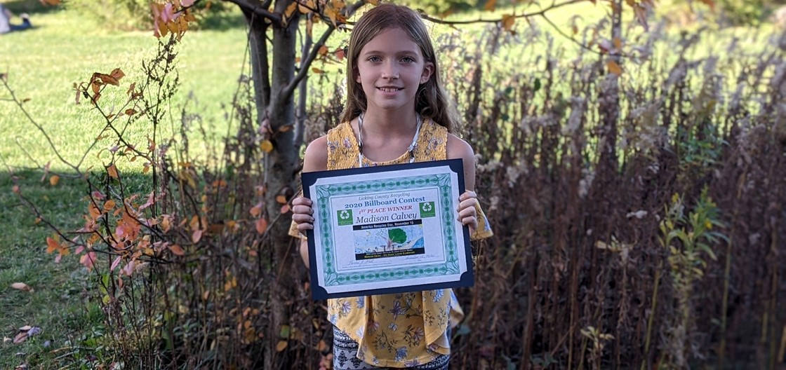 Legend student Madison Calvey placed 1st  in the Licking County Recycling 2020 Billboard Contest