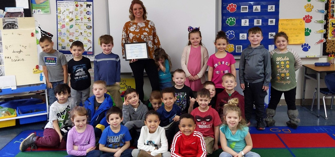 Ms. Morrison's kindergarten class at John Clem was in the top 2 percent of classes nationwide who completed standards in the eSpark curriculum program