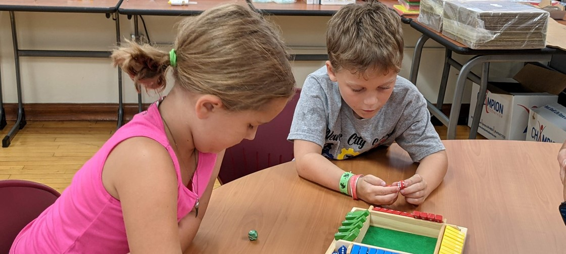 Students working together during Math Camp, summer 2021