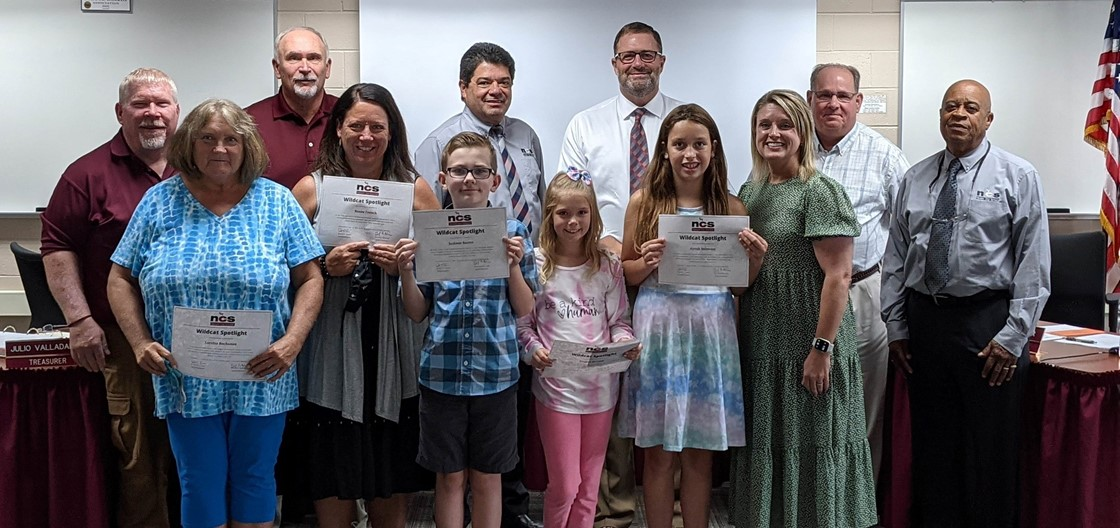 Ben Franklin students, staff and community member received the Wildcat Spotlight Award during September's board meeting